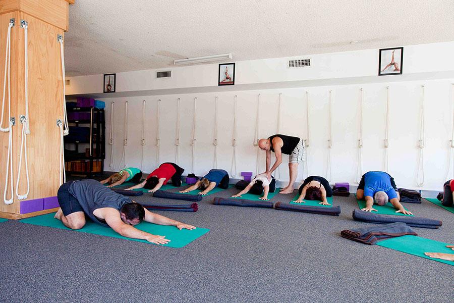 Practising Yoga at Simply Yoga's spacious studio