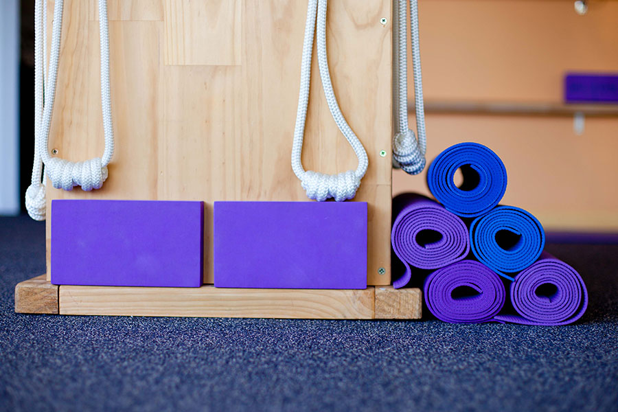 Some of the equipment provided at Simply Yoga